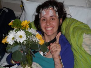 Meg in the hospital prior to her epilepsy surgery