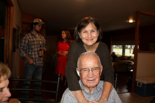 Merrily with her 90 year-old father, Thanksgiving 2012.
